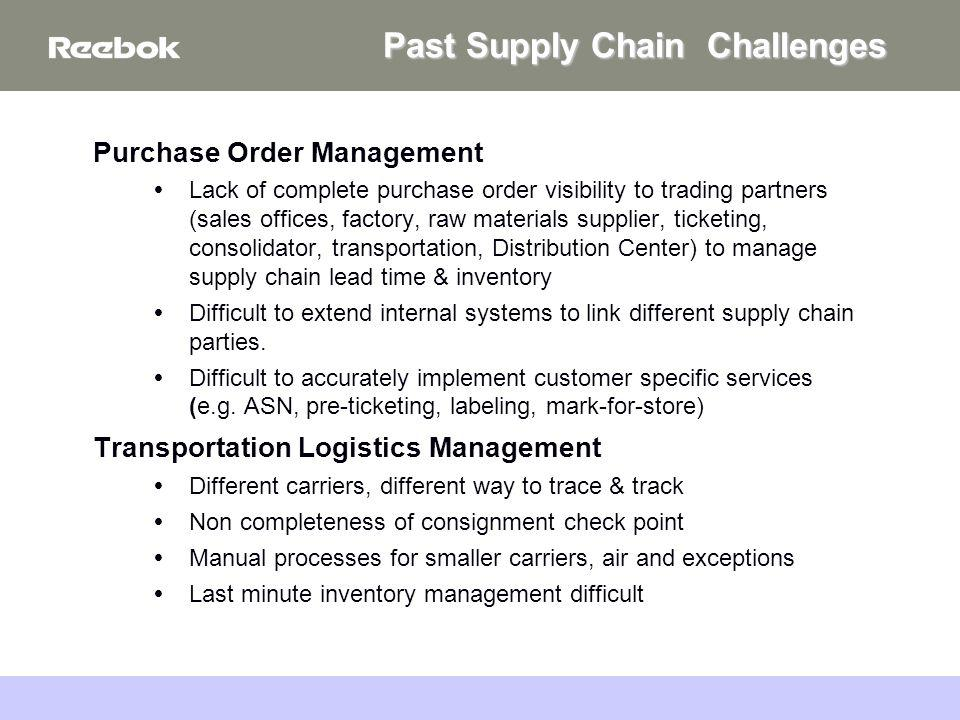September 27, 2005Boston College20 Purchase Order Management Lack of complete purchase order visibility to trading partners (sales offices, factory, raw materials supplier, ticketing, consolidator, transportation, Distribution Center) to manage supply chain lead time & inventory Difficult to extend internal systems to link different supply chain parties.