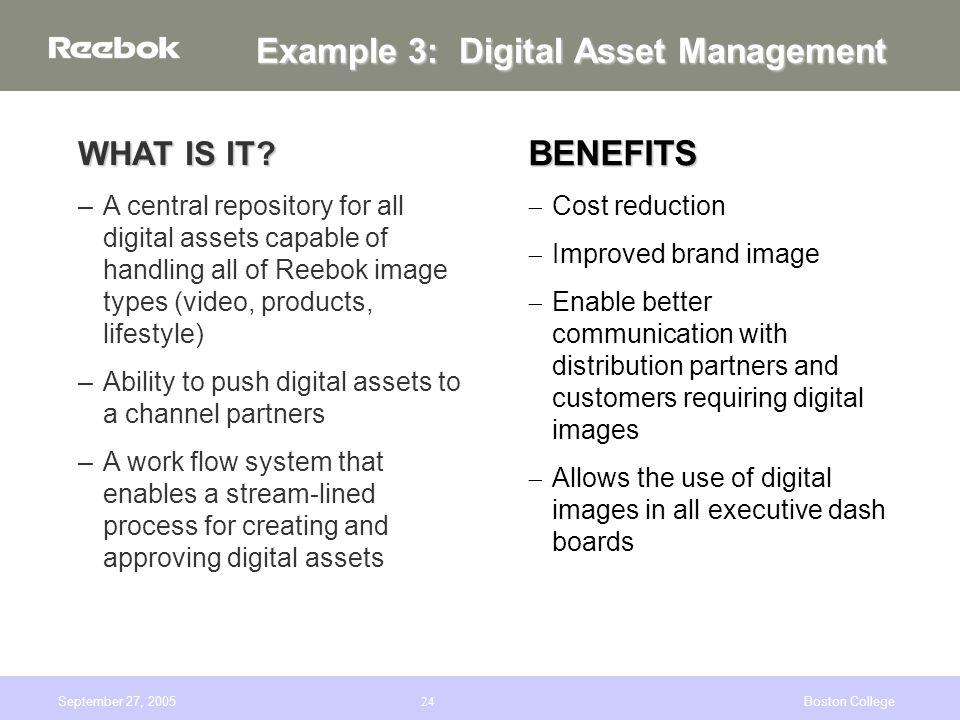 September 27, 2005Boston College24 Example 3: Digital Asset Management WHAT IS IT.