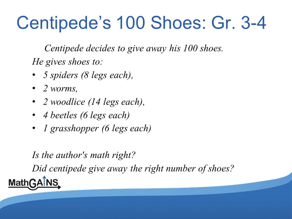 Centipedes 100 Shoes: Gr. 3-4 Centipede decides to give away his 100 shoes.