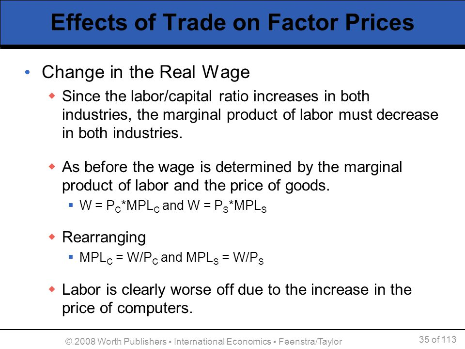 35 of 113 © 2008 Worth Publishers International Economics Feenstra/Taylor Effects of Trade on Factor Prices Change in the Real Wage Since the labor/ca