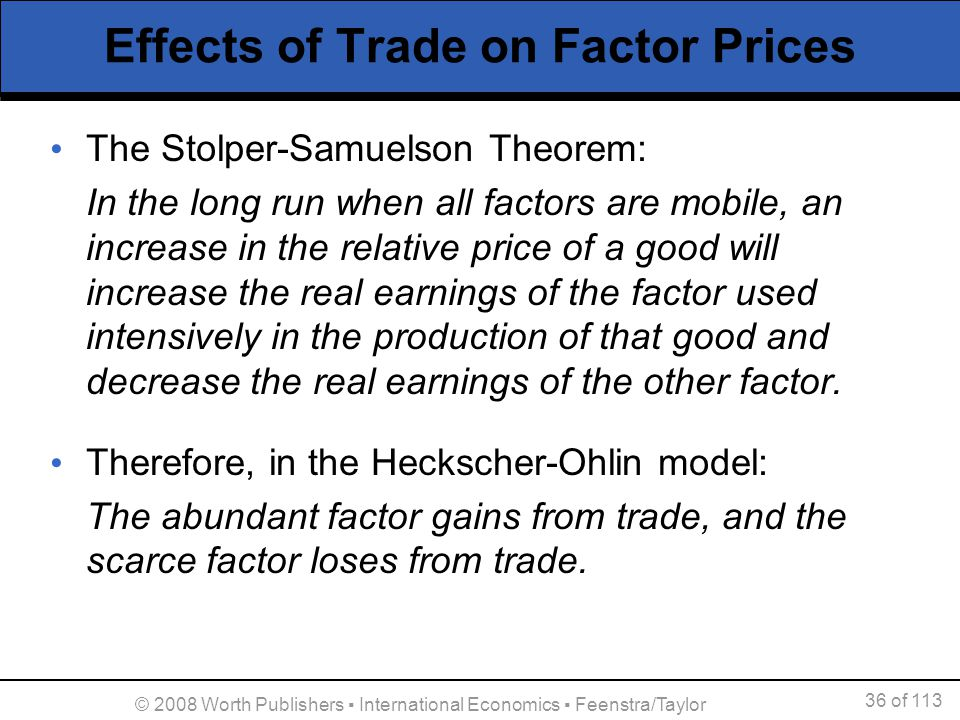 36 of 113 © 2008 Worth Publishers International Economics Feenstra/Taylor Effects of Trade on Factor Prices The Stolper-Samuelson Theorem: In the long
