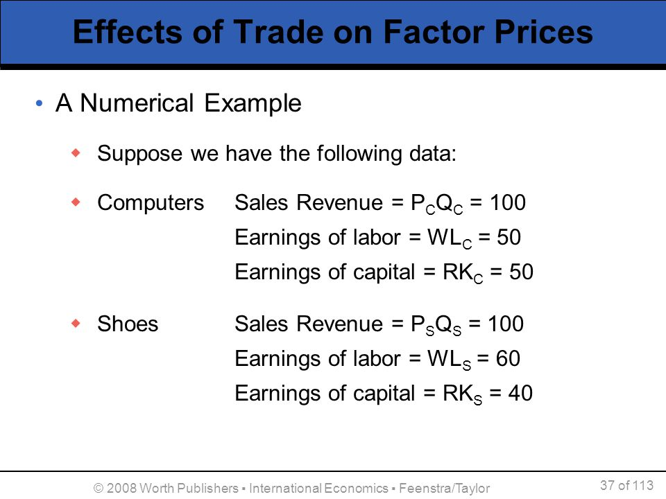 37 of 113 © 2008 Worth Publishers International Economics Feenstra/Taylor Effects of Trade on Factor Prices A Numerical Example Suppose we have the fo