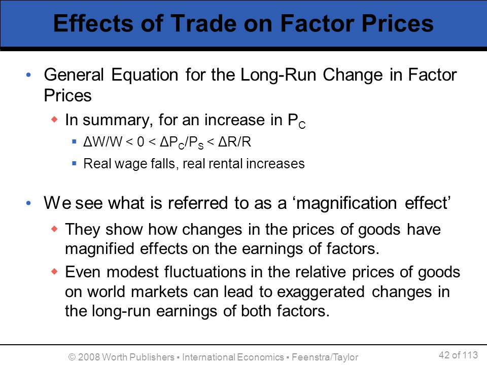 42 of 113 © 2008 Worth Publishers International Economics Feenstra/Taylor Effects of Trade on Factor Prices General Equation for the Long-Run Change i