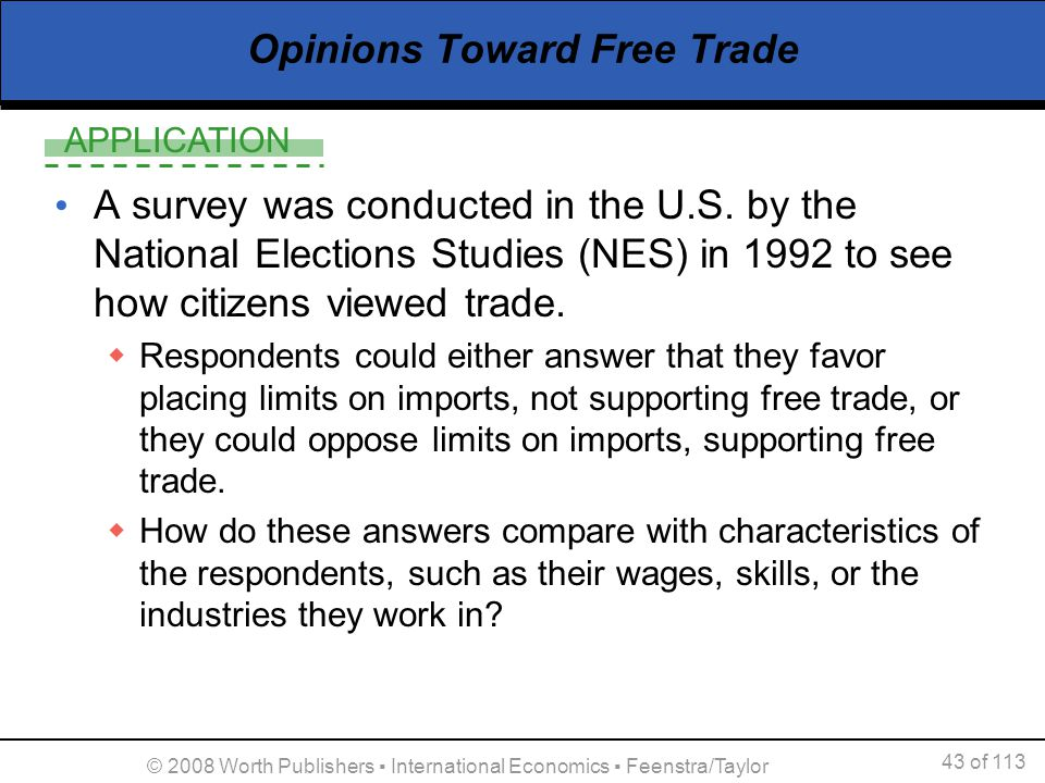 APPLICATION 43 of 113 © 2008 Worth Publishers International Economics Feenstra/Taylor Opinions Toward Free Trade A survey was conducted in the U.S. by
