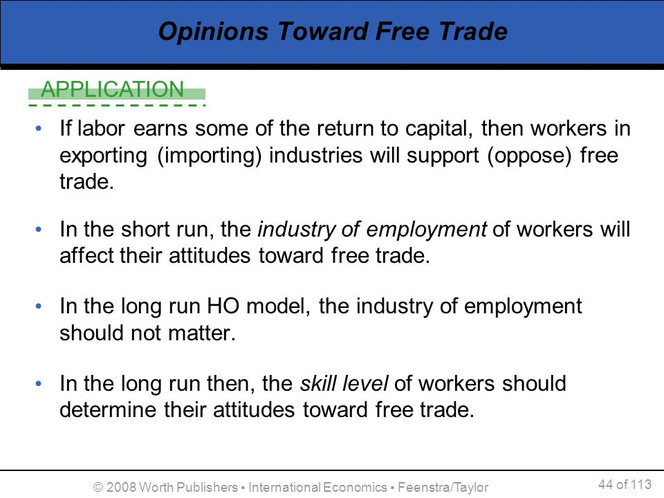 APPLICATION 44 of 113 © 2008 Worth Publishers International Economics Feenstra/Taylor Opinions Toward Free Trade If labor earns some of the return to