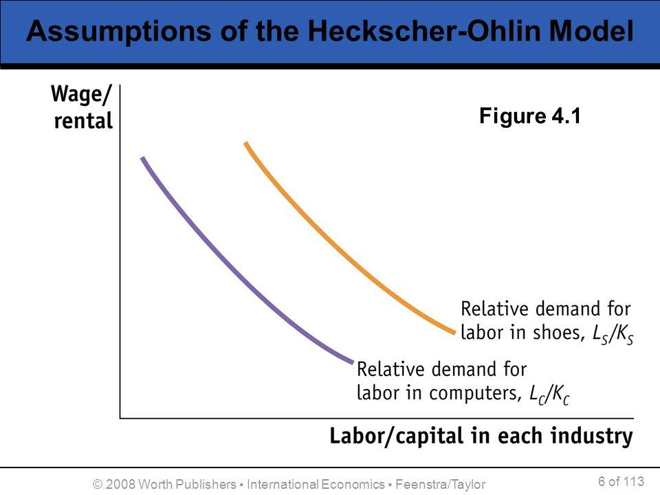 7 of 113 © 2008 Worth Publishers International Economics Feenstra/Taylor Assumptions of the Heckscher-Ohlin Model 3.Foreign is labor abundant.