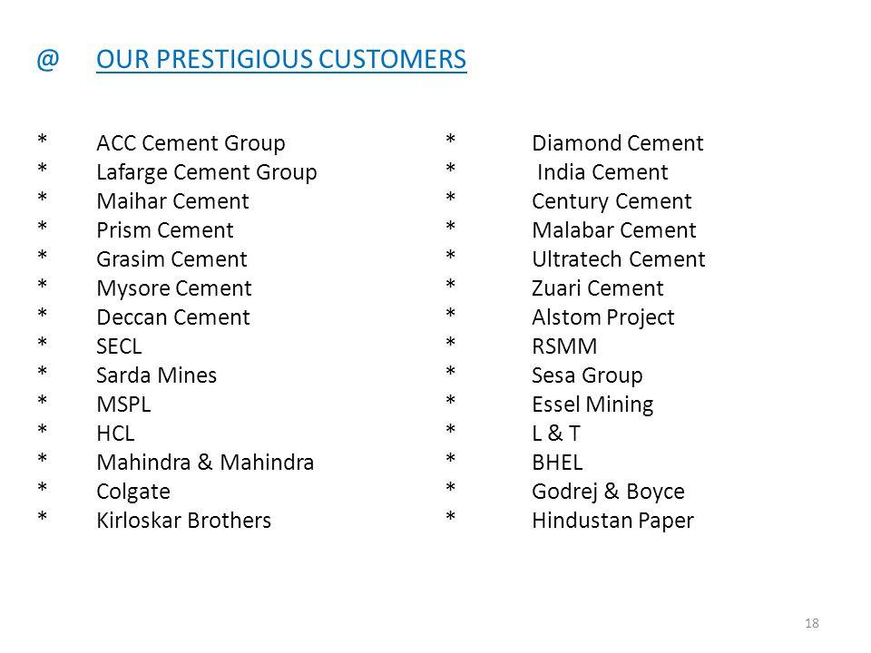 @OUR PRESTIGIOUS CUSTOMERS * ACC Cement Group*Diamond Cement *Lafarge Cement Group* India Cement *Maihar Cement*Century Cement *Prism Cement*Malabar C