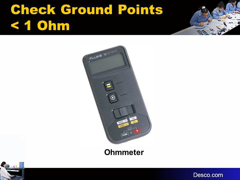 Ohmmeter Check Ground Points < 1 Ohm