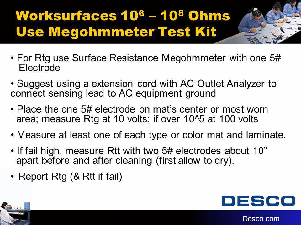 Worksurfaces 10 6 – 10 8 Ohms Use Megohmmeter Test Kit For Rtg use Surface Resistance Megohmmeter with one 5# Electrode Suggest using a extension cord
