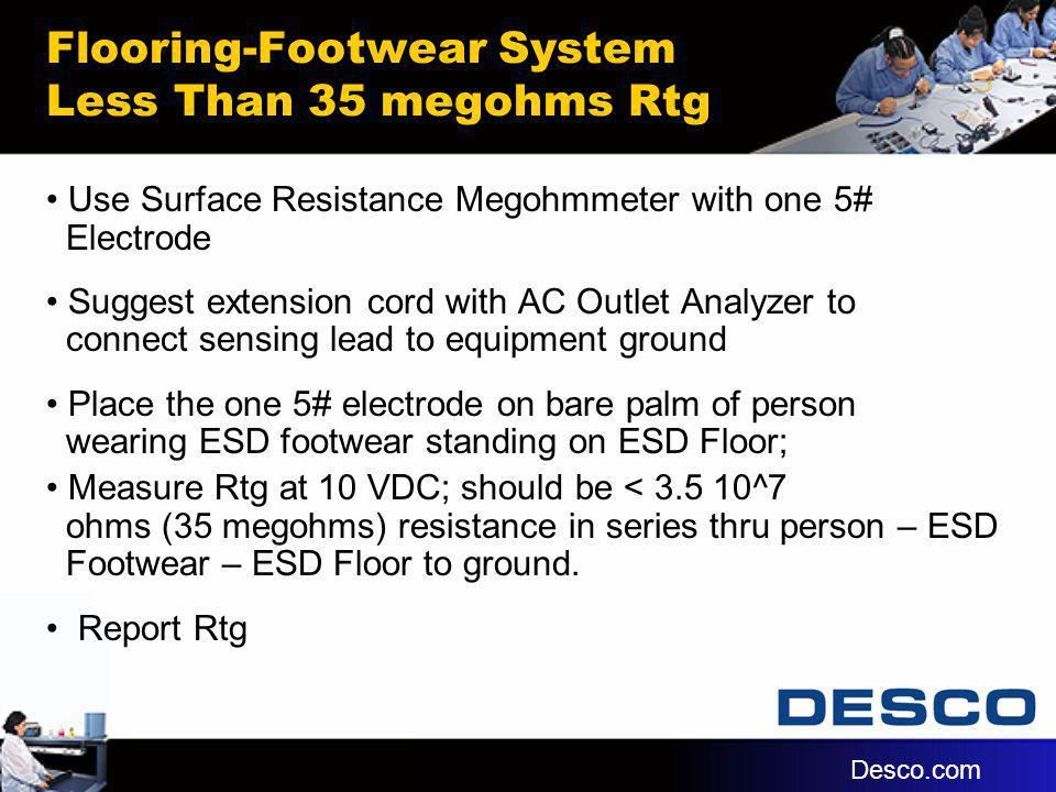 Flooring-Footwear System Less Than 35 megohms Rtg Use Surface Resistance Megohmmeter with one 5# Electrode Suggest extension cord with AC Outlet Analy
