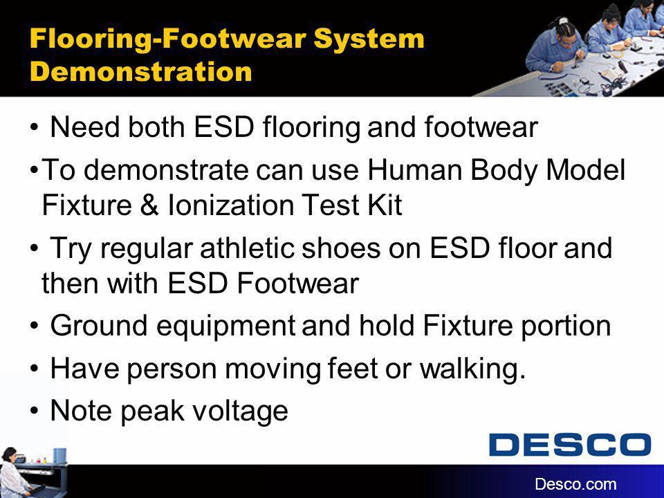 Flooring-Footwear System Demonstration Need both ESD flooring and footwear To demonstrate can use Human Body Model Fixture & Ionization Test Kit Try r