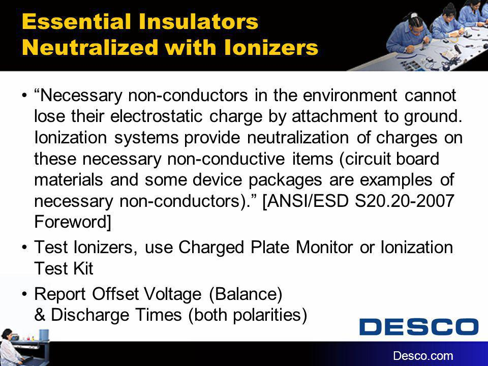 Essential Insulators Neutralized with Ionizers Necessary non-conductors in the environment cannot lose their electrostatic charge by attachment to gro