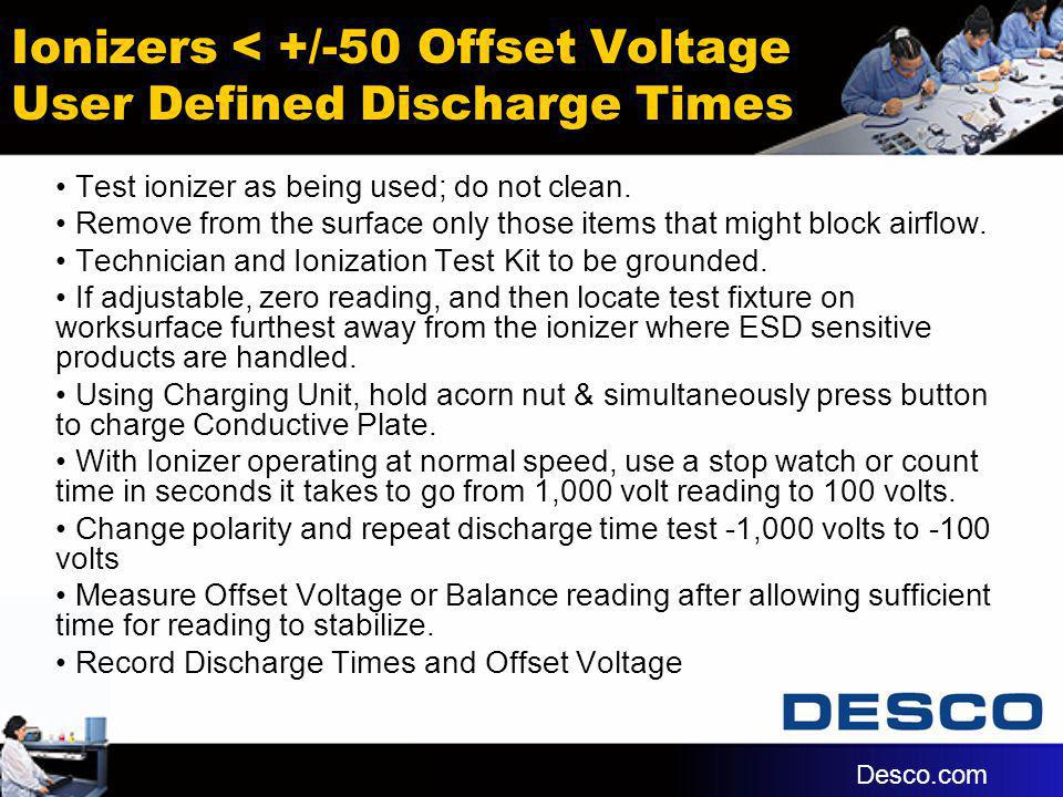 Ionizers < +/-50 Offset Voltage User Defined Discharge Times Test ionizer as being used; do not clean. Remove from the surface only those items that m