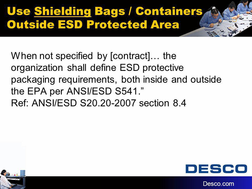 Use Shielding Bags / Containers Outside ESD Protected Area When not specified by [contract]… the organization shall define ESD protective packaging re