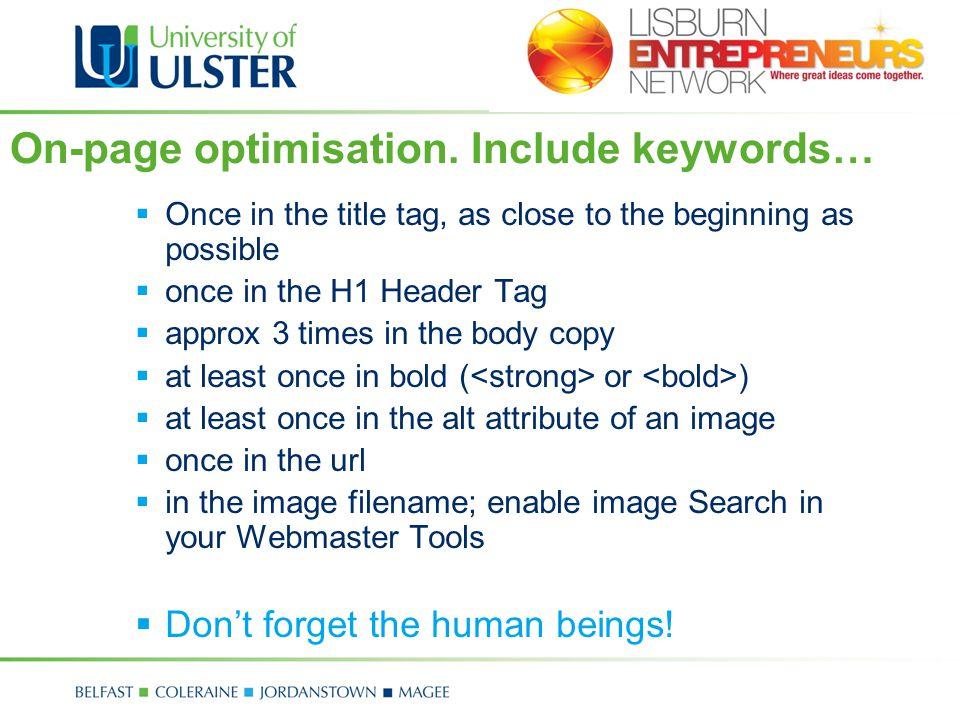 On-page optimisation.