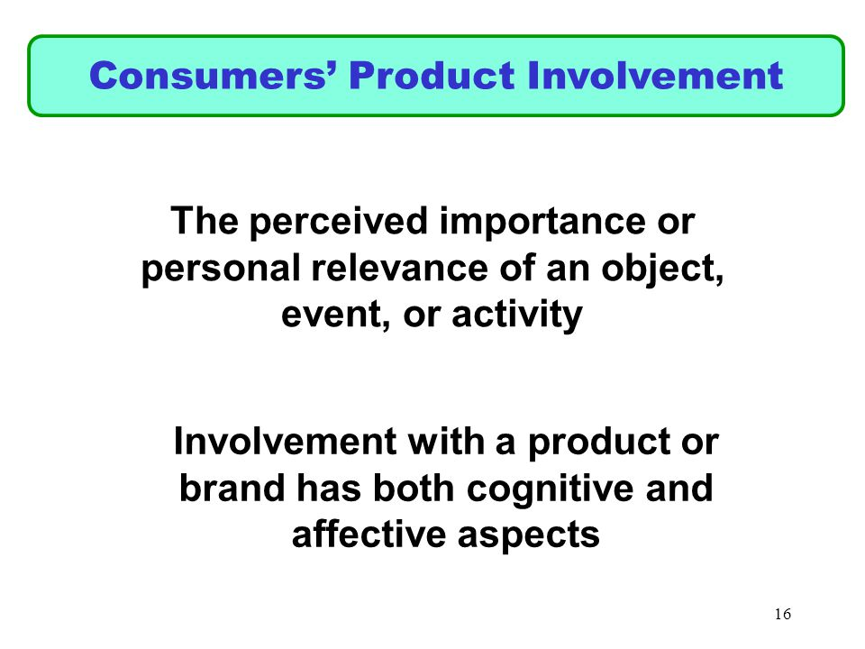 Consumers Product Involvement The perceived importance or personal relevance of an object, event, or activity Involvement with a product or brand has