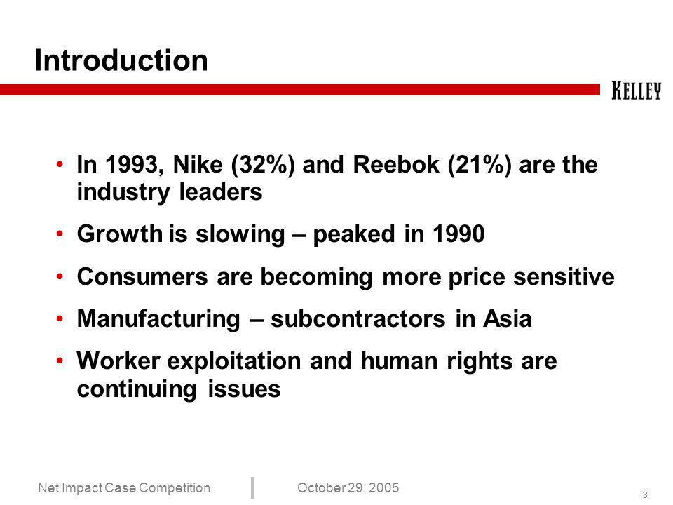 222 Net Impact Case CompetitionOctober 29, 2005 Agenda Introduction Problem Statement Comparison of Nike and Reebok Recommendations Summary and Conclusions