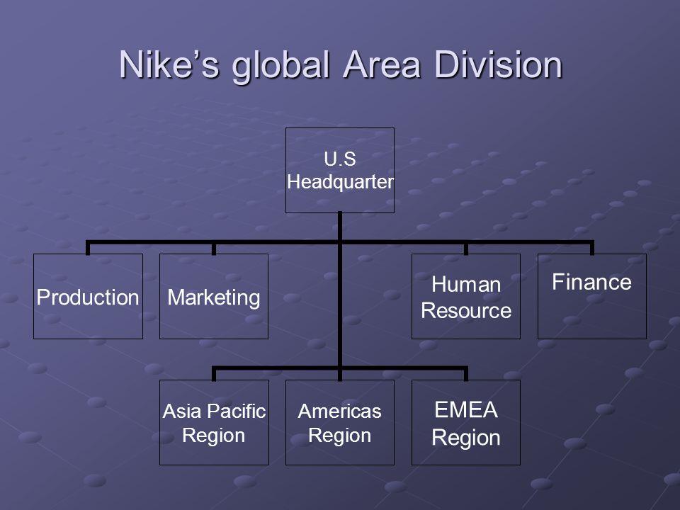 Nikes global Area Division U.S Headquarter ProductionMarketing Asia Pacific Region Americas Region EMEA Region Human Resource Finance