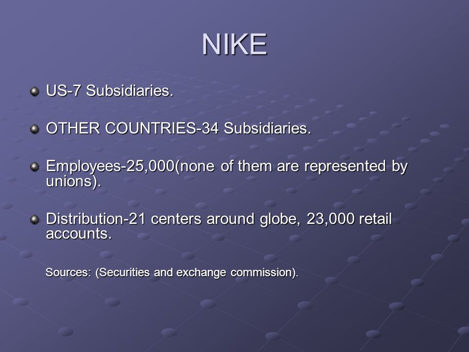 NIKE US-7 Subsidiaries. OTHER COUNTRIES-34 Subsidiaries. Employees-25,000(none of them are represented by unions). Distribution-21 centers around glob