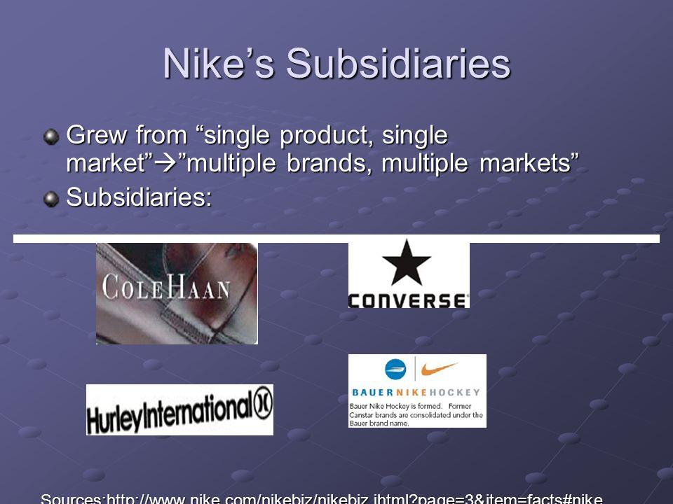Grew from single product, single market multiple brands, multiple markets Subsidiaries:Sources:http://www.nike.com/nikebiz/nikebiz.jhtml?page=3&item=f