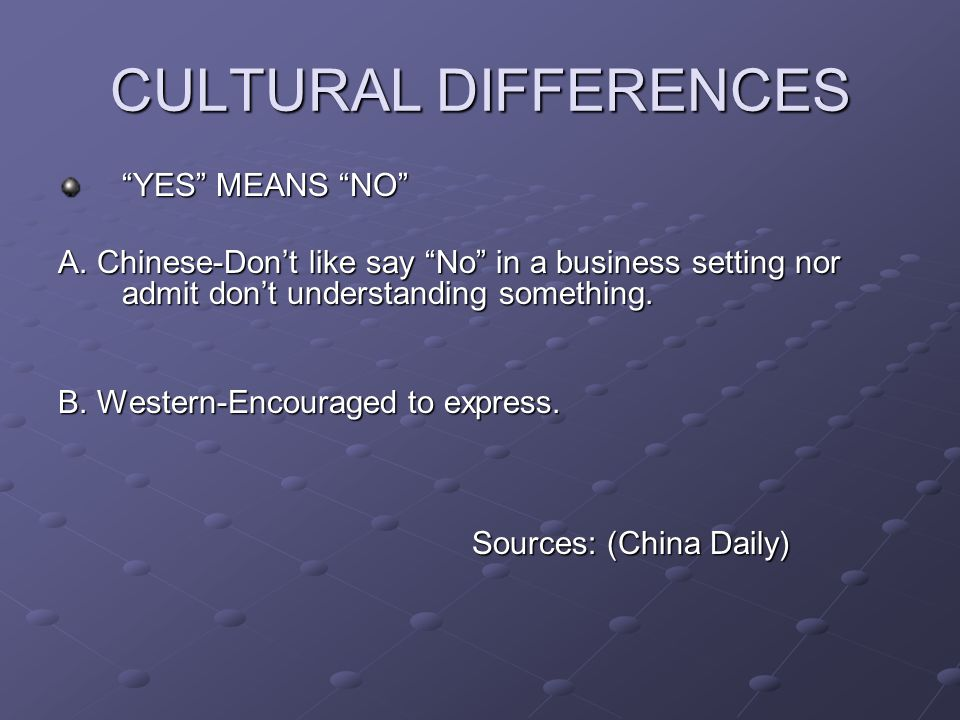 CULTURAL DIFFERENCES YES MEANS NO A. Chinese-Dont like say No in a business setting nor admit dont understanding something. B. Western-Encouraged to e