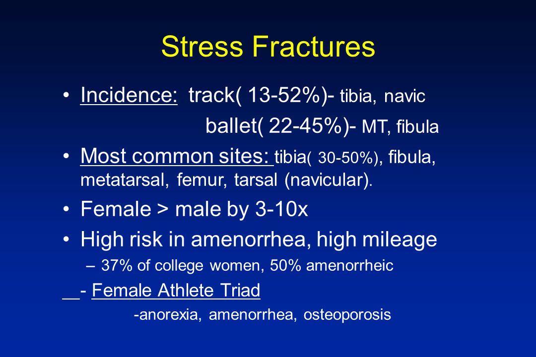 Stress Fractures Incidence: track( 13-52%)- tibia, navic ballet( 22-45%)- MT, fibula Most common sites: tibia ( 30-50%), fibula, metatarsal, femur, ta