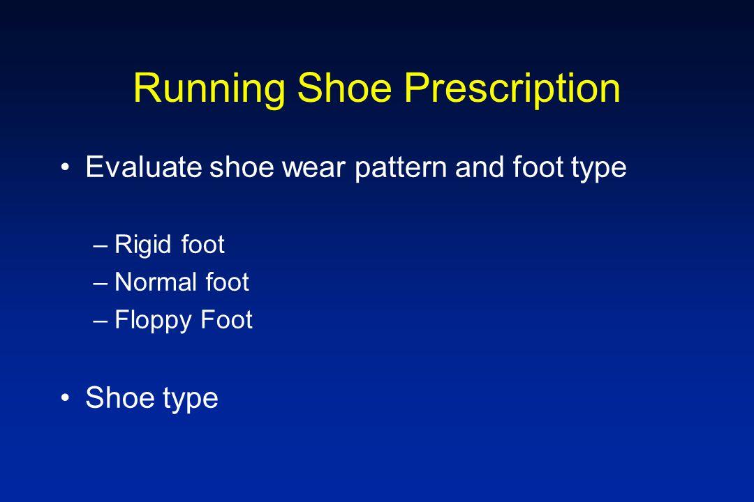 Running Shoe Prescription Evaluate shoe wear pattern and foot type –Rigid foot –Normal foot –Floppy Foot Shoe type