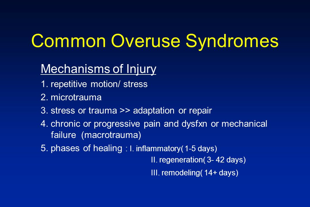 Mechanisms of Injury 1. repetitive motion/ stress 2. microtrauma 3. stress or trauma >> adaptation or repair 4. chronic or progressive pain and dysfxn