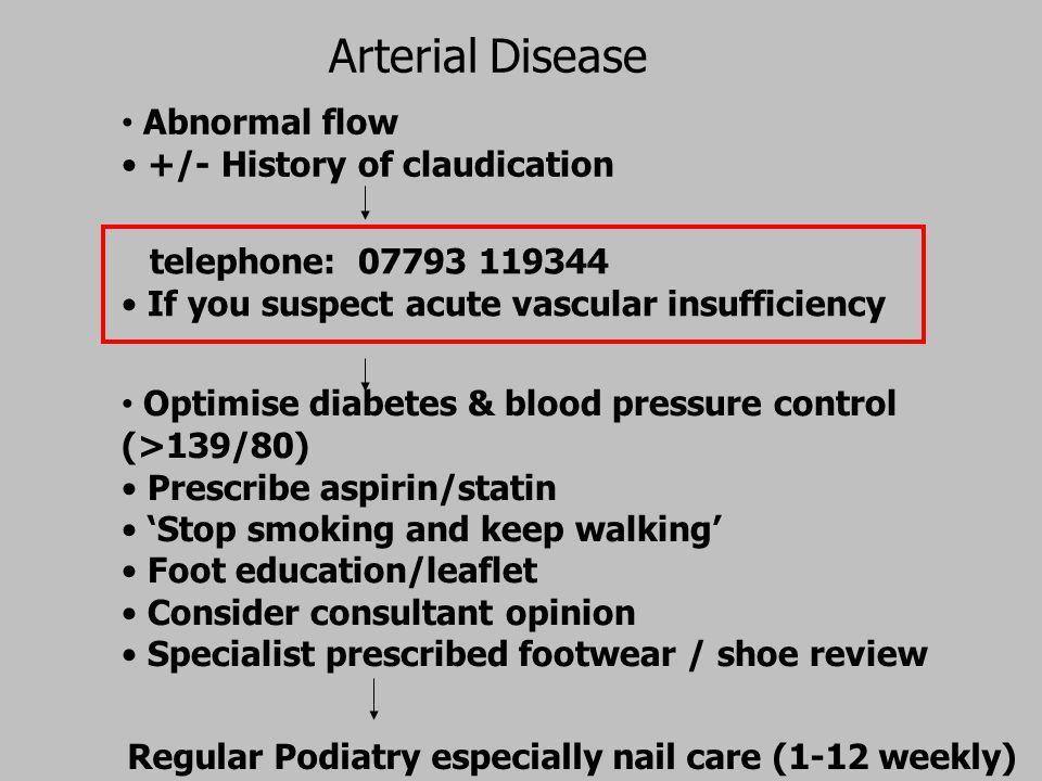 Arterial Disease Abnormal flow +/- History of claudication telephone: 07793 119344 If you suspect acute vascular insufficiency Optimise diabetes & blo
