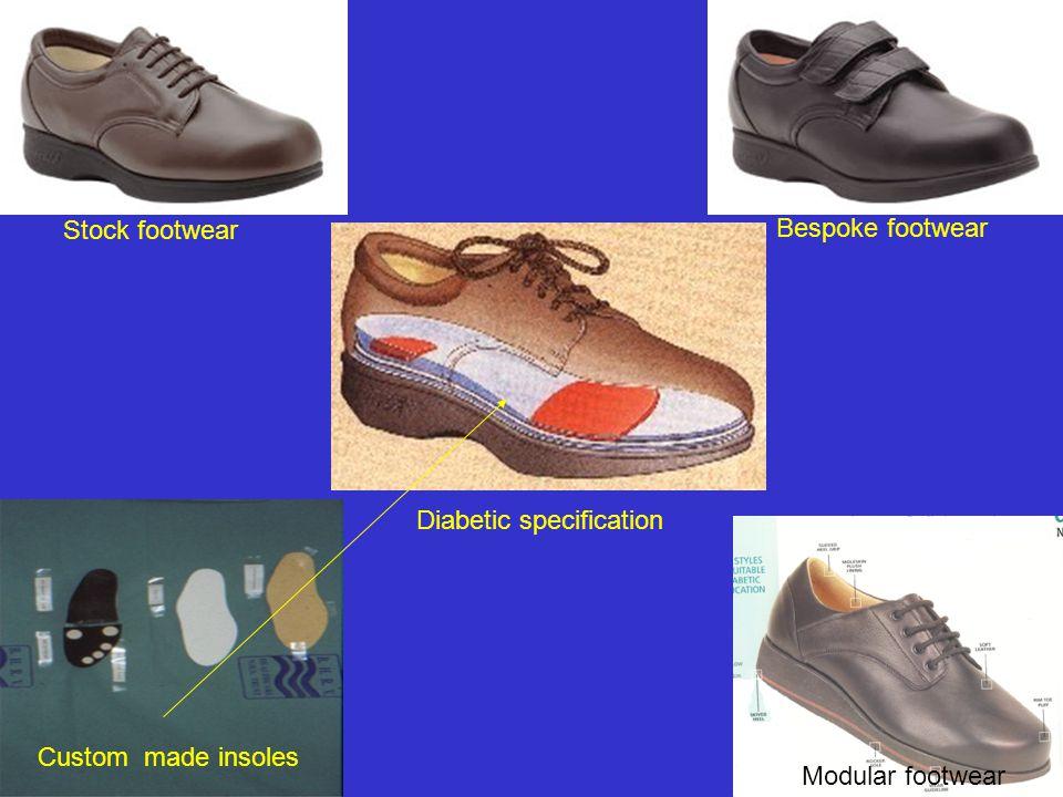 Custom made insoles Stock footwear Modular footwear Diabetic specification Bespoke footwear
