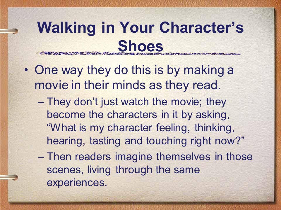 Walking in Your Characters Shoes Reflecting on their opinions about their characters while talking to their partners.