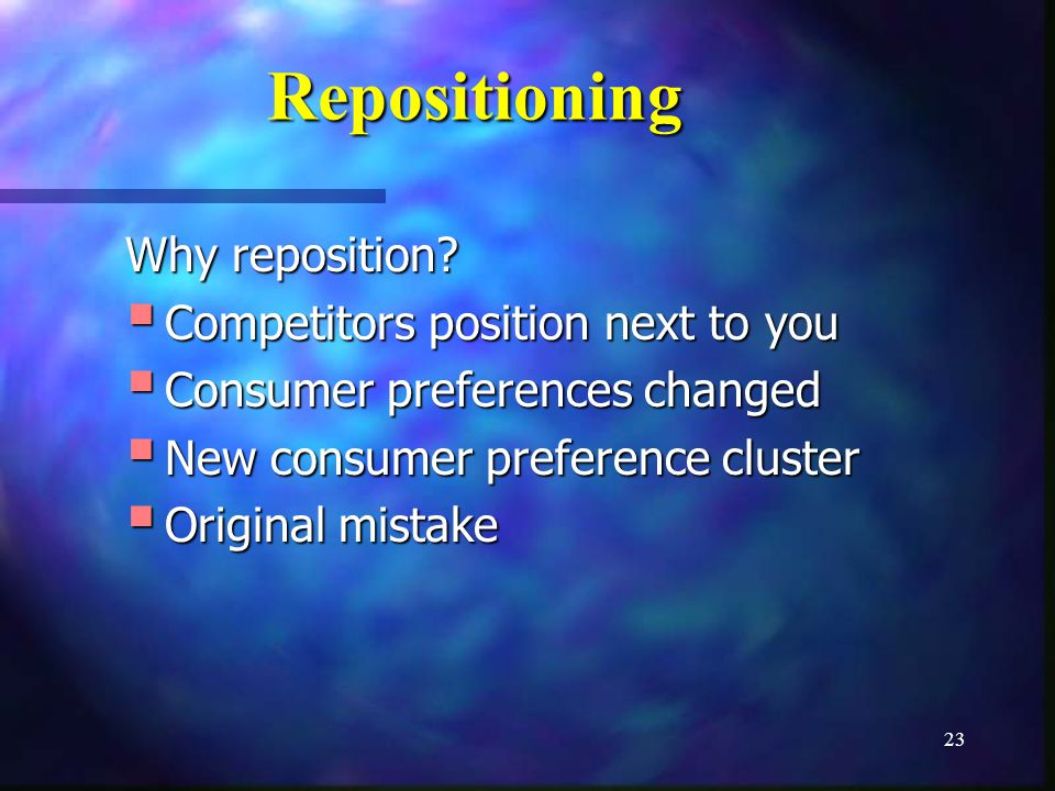 23 Repositioning Why reposition.
