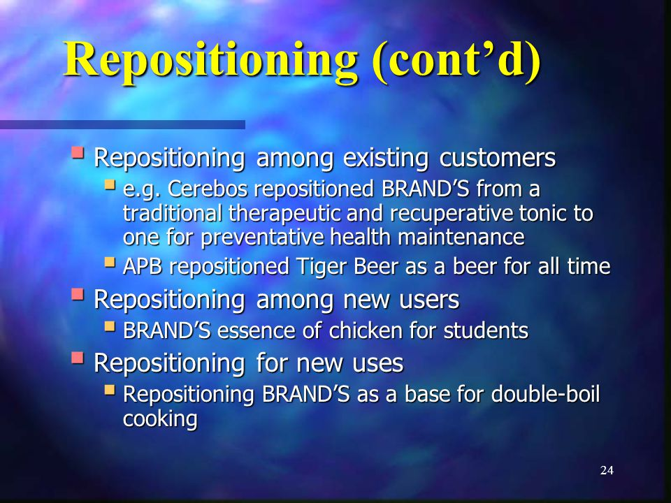 24 Repositioning (contd) Repositioning among existing customers Repositioning among existing customers e.g.