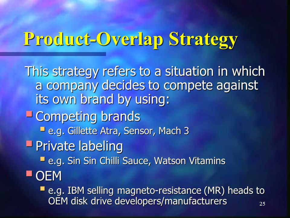 25 Product-Overlap Strategy This strategy refers to a situation in which a company decides to compete against its own brand by using: Competing brands