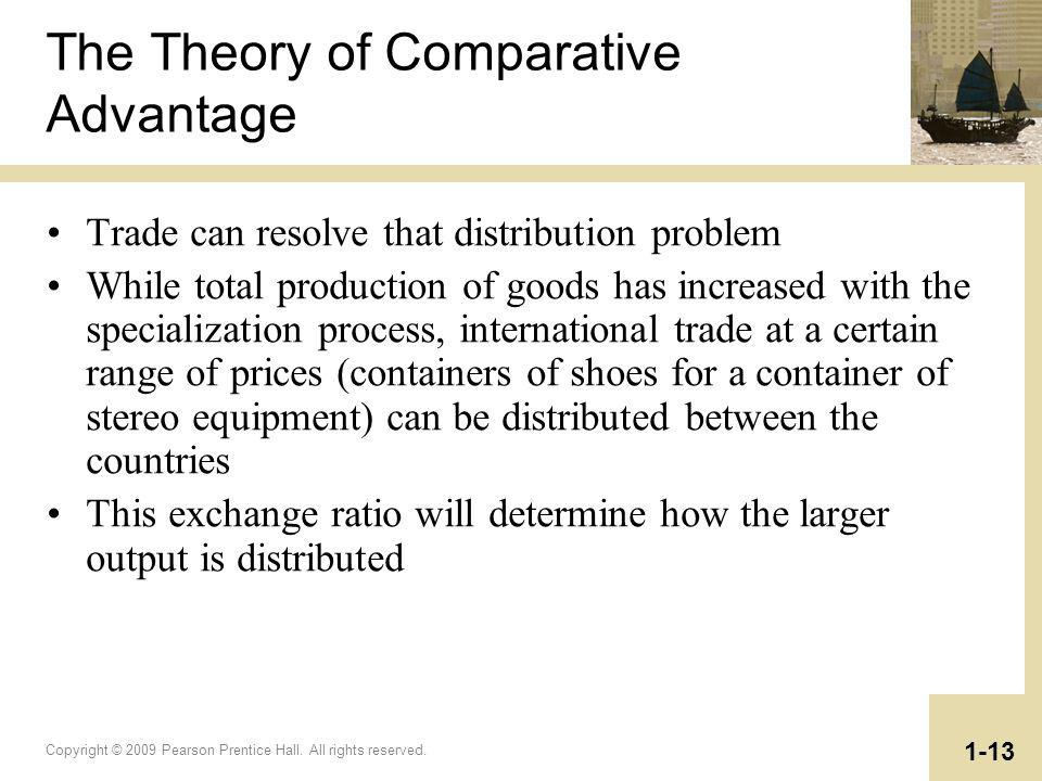 Copyright © 2009 Pearson Prentice Hall. All rights reserved. 1-13 The Theory of Comparative Advantage Trade can resolve that distribution problem Whil