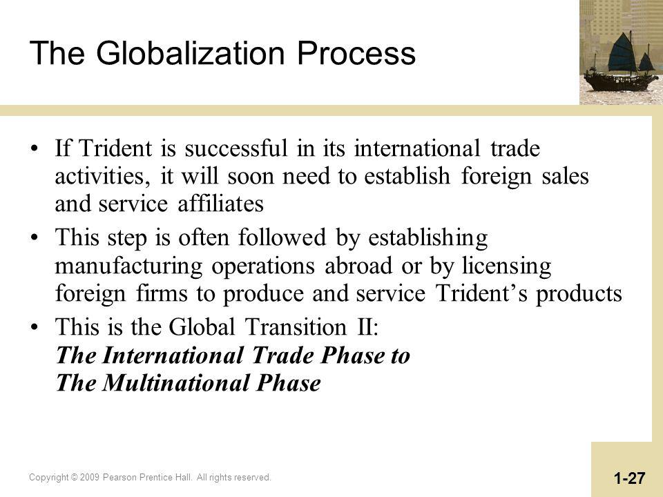 Copyright © 2009 Pearson Prentice Hall. All rights reserved. 1-27 The Globalization Process If Trident is successful in its international trade activi