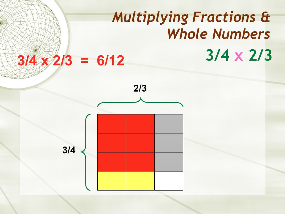 3/4 x 2/3 Multiplying Fractions & Whole Numbers 2/3 3/4 x 2/3 = 6/12 3/4