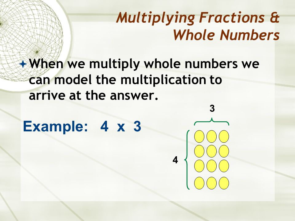 When we multiply whole numbers we can model the multiplication to arrive at the answer.