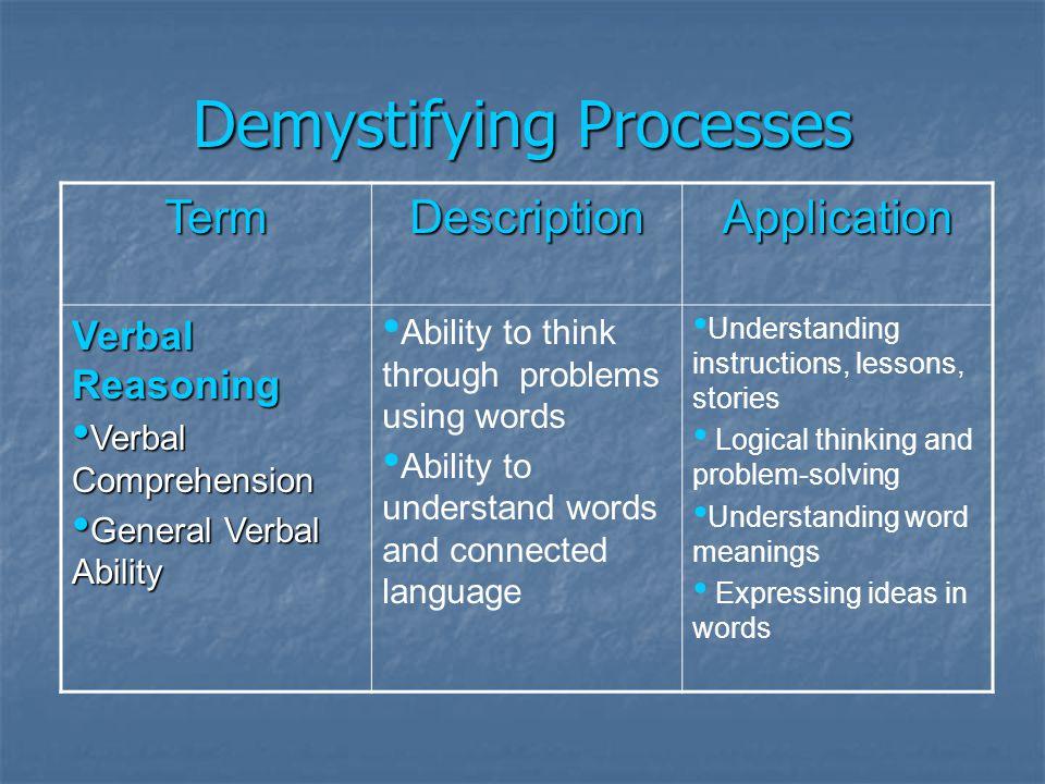 Demystifying Processes TermDescriptionApplication Verbal Reasoning Verbal Comprehension Verbal Comprehension General Verbal Ability General Verbal Abi