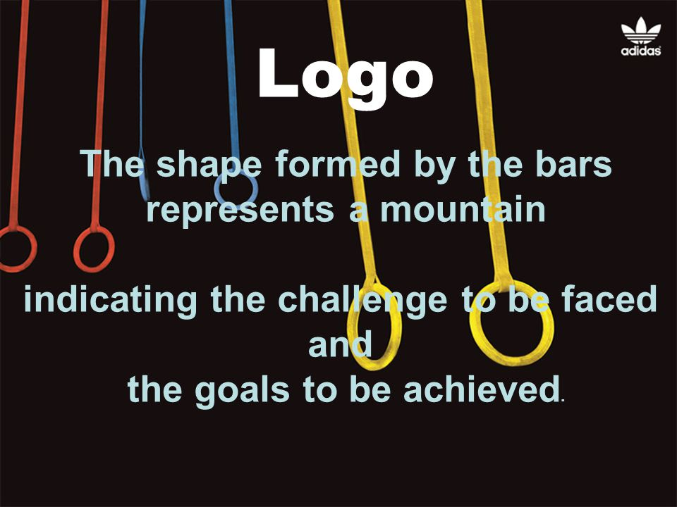 The shape formed by the bars represents a mountain indicating the challenge to be faced and the goals to be achieved.