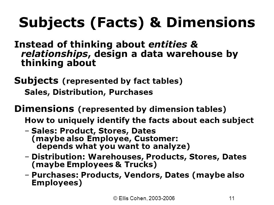 11 © Ellis Cohen, 2003-2006 Subjects (Facts) & Dimensions Instead of thinking about entities & relationships, design a data warehouse by thinking abou