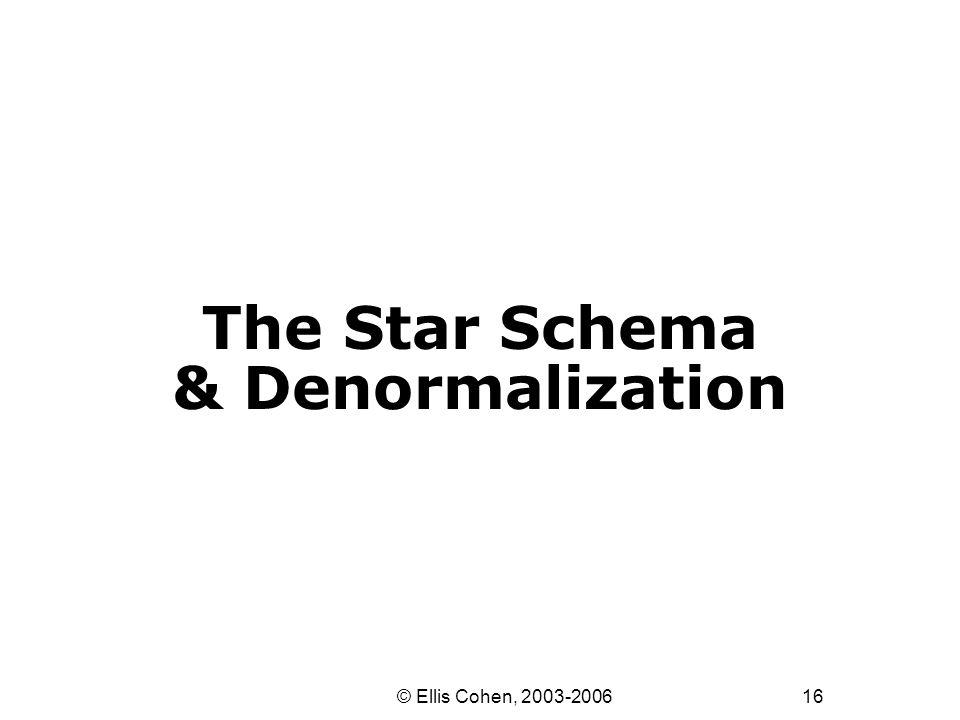 16 © Ellis Cohen, 2003-2006 The Star Schema & Denormalization