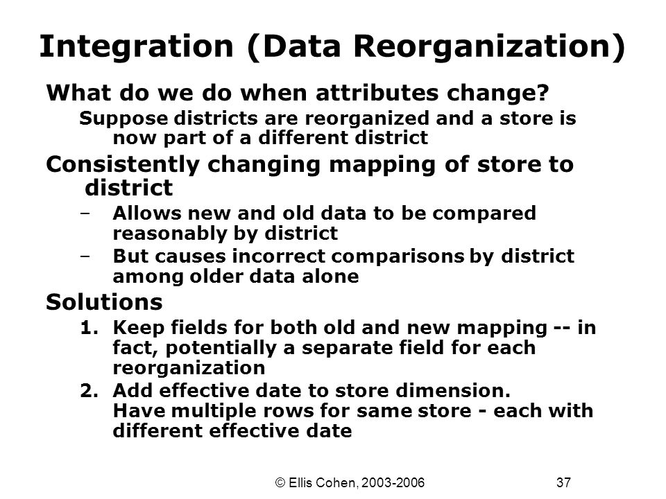 37 © Ellis Cohen, 2003-2006 Integration (Data Reorganization) What do we do when attributes change? Suppose districts are reorganized and a store is n