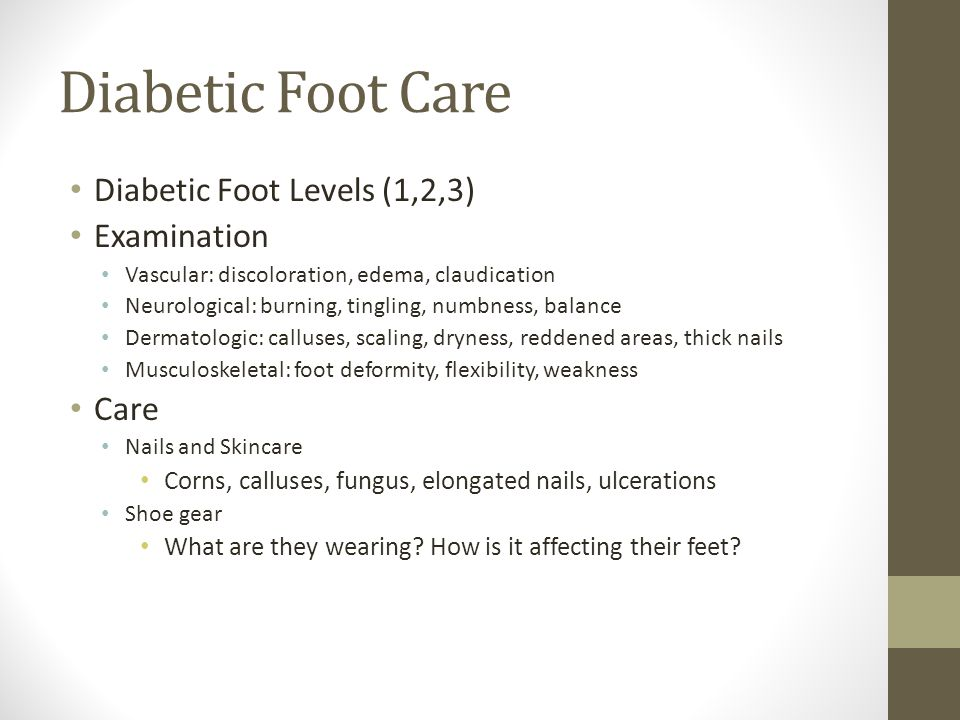 Risk Factors for Ulceration/Amputation (1) Peripheral sensory neuropathy: #1 cause of ulceration Structural foot deformity Improperly fitting shoes History prior ulceration/amputation Prolonged elevated pressures Obesity Smoking Lower extremity edema Uncontrolled hyperglycemia Vision Chronic Renal Disease Limited joint mobility Poor blood flow