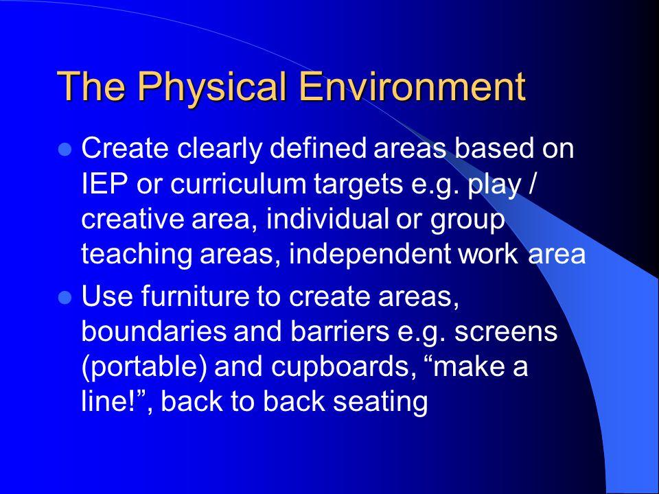 The Physical Environment Make use of visuals e.g.