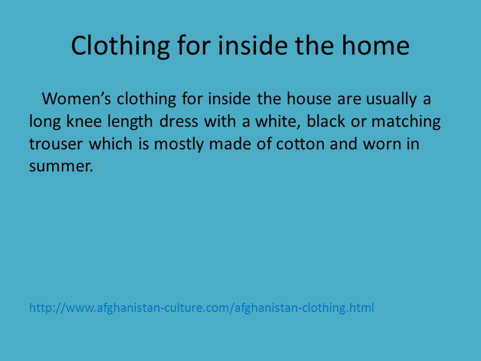 Mens Clothing - Tomban (Pants) -Payran (Over shirt) -Pakol (Hat or Cap) -Turban (Head dress) -Waskat (Vest) http://www.bookrags.com/research/clothing-traditionalafghanistan-ema-02/