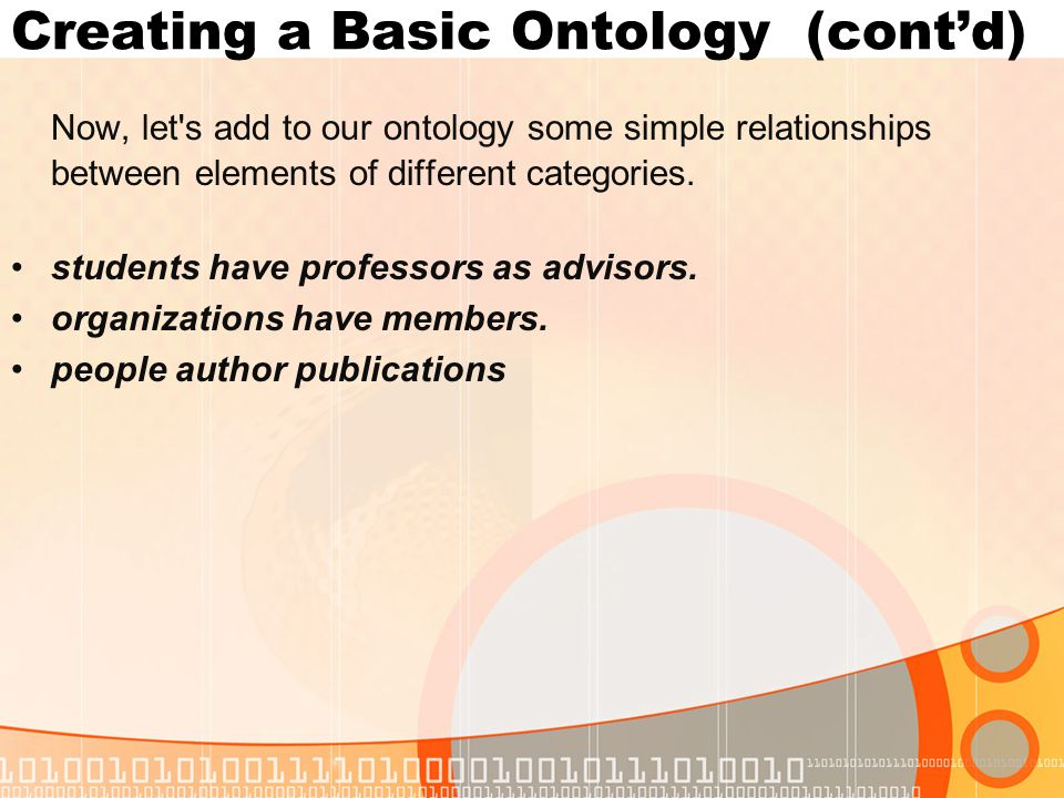 Creating a Basic Ontology (contd) Now, let s add to our ontology some simple relationships between elements of different categories.