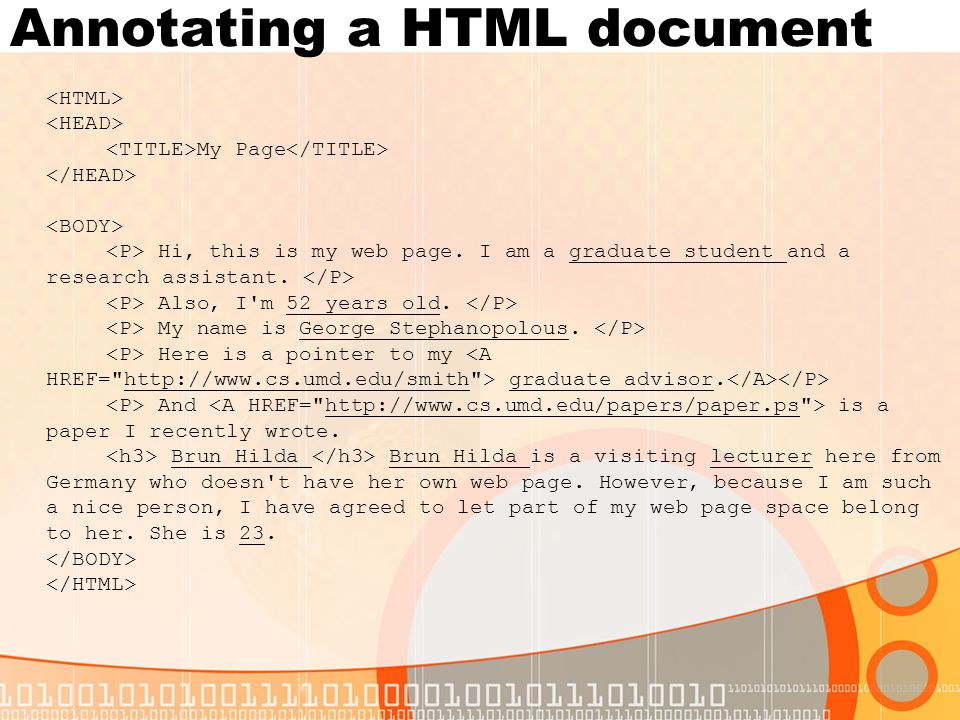 Annotating a HTML document My Page Hi, this is my web page.