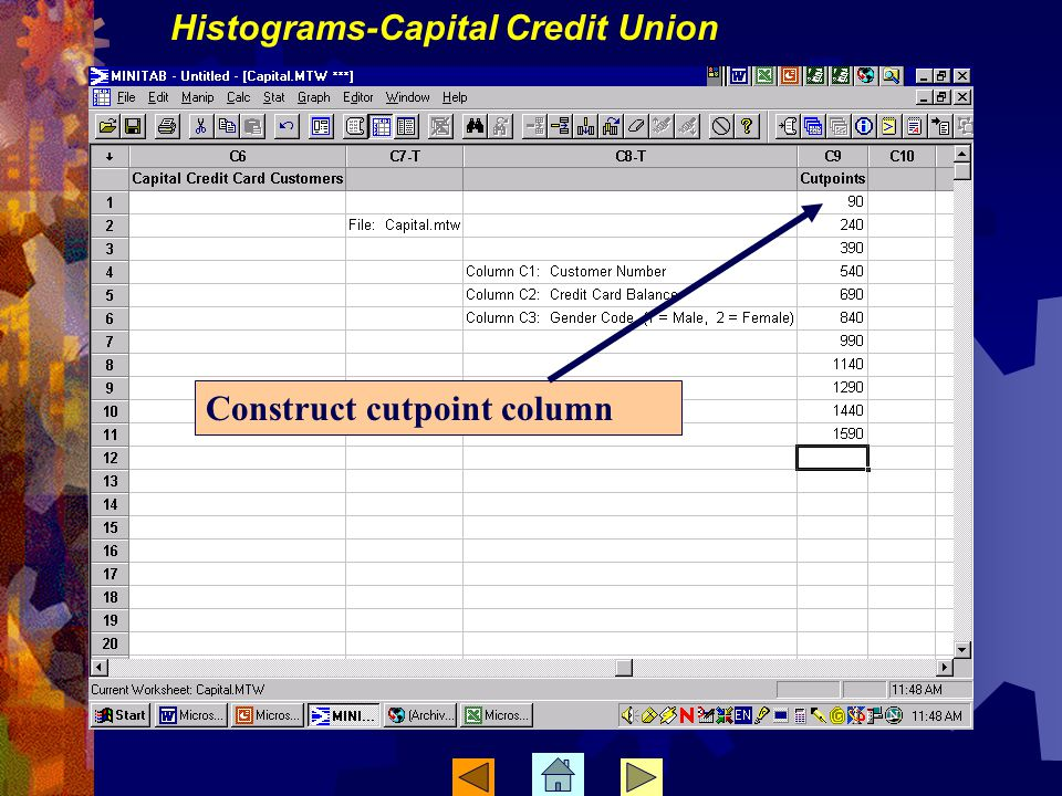Construct cutpoint column Histograms-Capital Credit Union