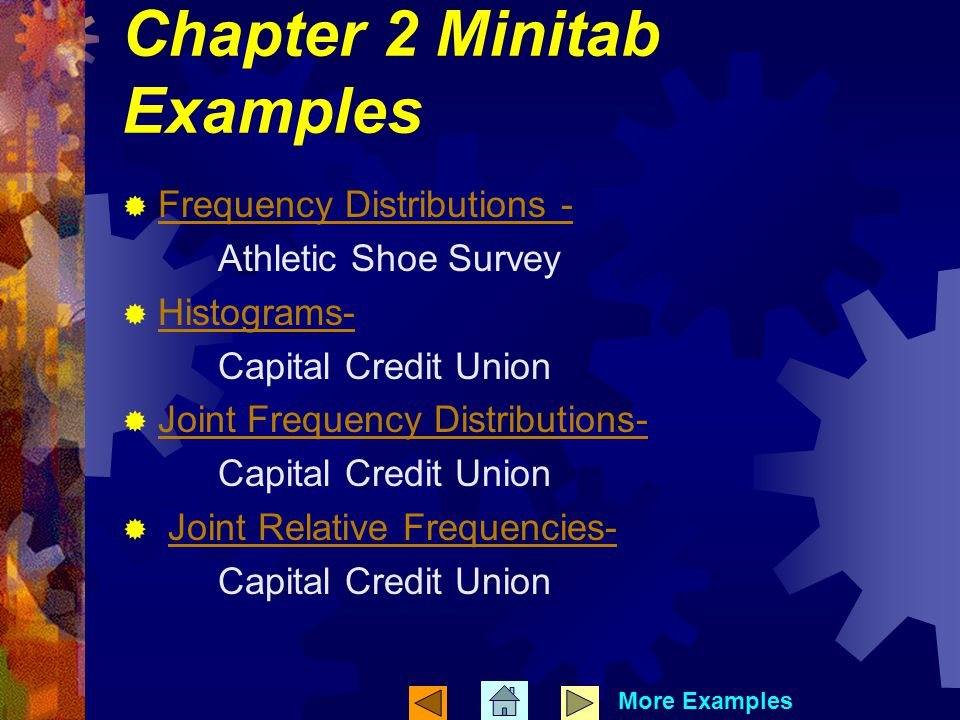 Chapter 2 Minitab Examples Frequency Distributions - Athletic Shoe Survey Histograms- Capital Credit Union Joint Frequency Distributions- Capital Credit Union Joint Relative Frequencies- Capital Credit Union More Examples